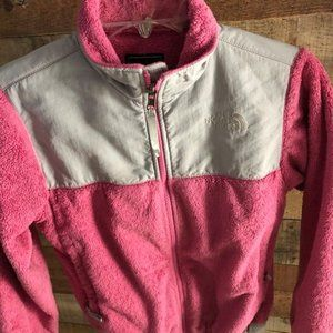 The North Face Pink fuzzy zip up jacket